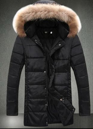Мужская куртка,пальто ,пуховик  с  мехом! достойное качество! с,м,л,хл.
