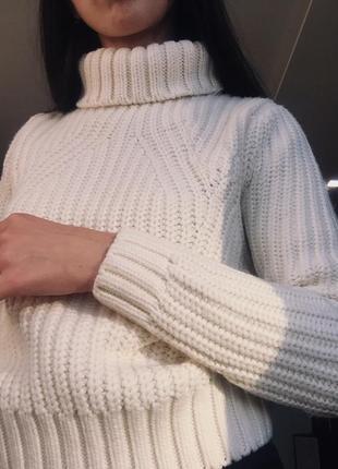 Вязаный гольф , вязаная кофта укороченая,кроп свитер