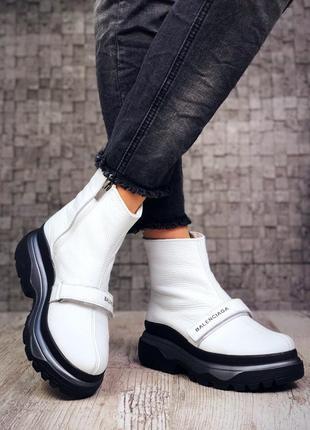 Рр 36-40 натуральная кожа мега стильные высокие белые ботинки кроссовки на липучке