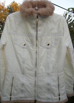 Куртка high society с натуральным кроличьим мехом осень демисезон