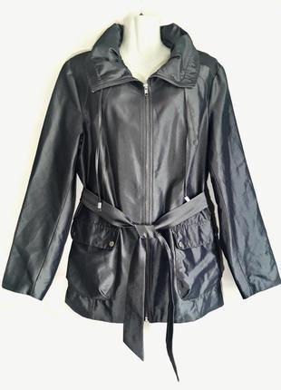 Цена снижена до 15.10!стильная куртка с поясом, серебристый металлик