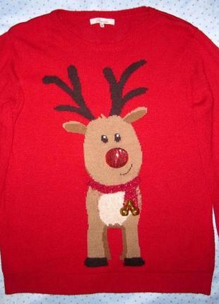 Новогодний свитер  олень с бубенчиками, peacocks, размер м