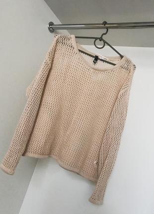 Женский свитер вязанная кофта свободная в дырочку бежевая