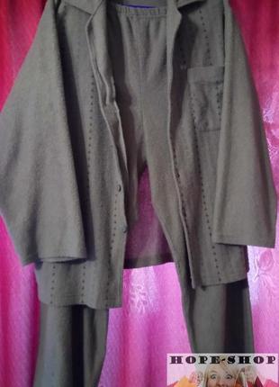 Домашний костюм,махровая с начёсом пижама, брюки и кофта с длинным рукавом xl
