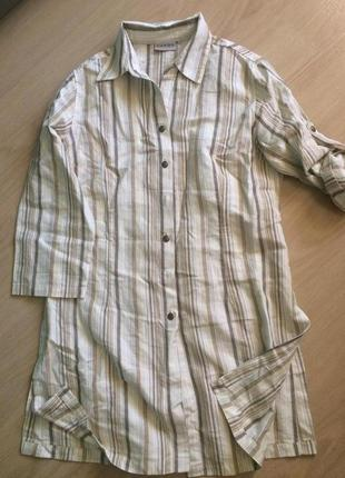 Длинная рубашка в полоску лен
