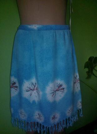 Пляжная юбка с запахом с бахромой
