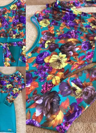 Платье в цветочный принт, одно плечо оголенное, короткое и красивое!