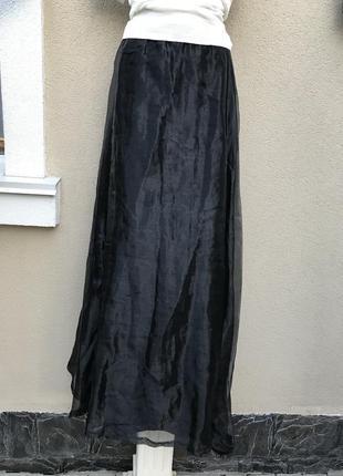 Длинная,чёрная,вечерняя,готическая юбка,органза+бархат,велюр,sinister,эксклюзив