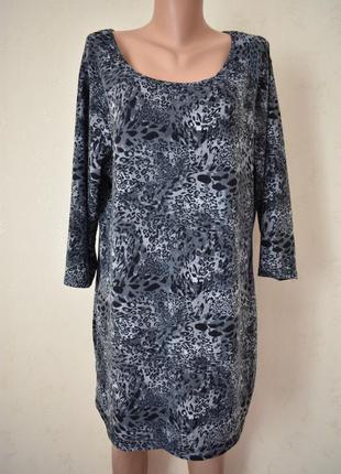 Теплое платье -туника с принтом большого размера