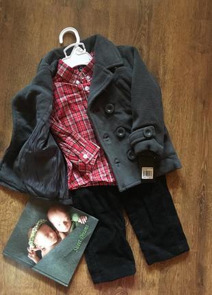 Костюм трійка пальто сорочка і вельветові штанці