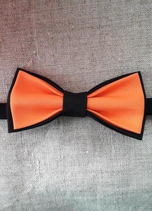 Галстук- бабочка цвет черный+оранжевый. метелик. ручная работа