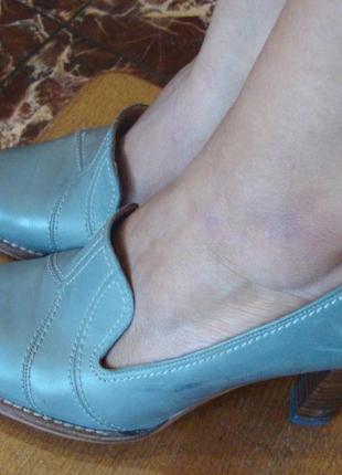 Туфли кожаные серые gabor размер 5/38 стелька 25,5 см