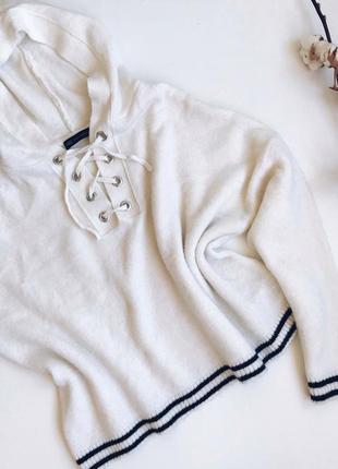 Белый мягкий свитер mark&spencer oversize со шнуровкой