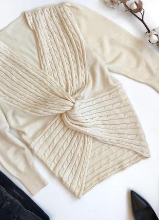 Шерстяной свитер косичка с декоративным узлом oversize