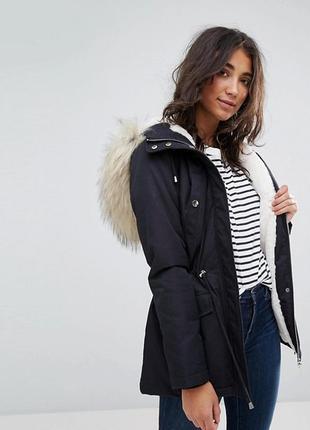 Шикарная куртка парка с густым мехом miss selfridge 12р