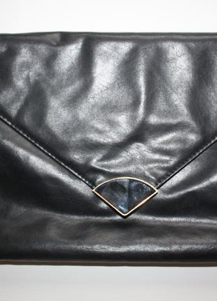 Черный клатч конверт с ручкой а4 atmosphere (к000)