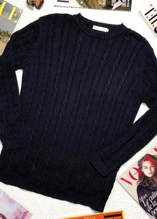 Теплый темно-синий свитер хлопок colori stockmann