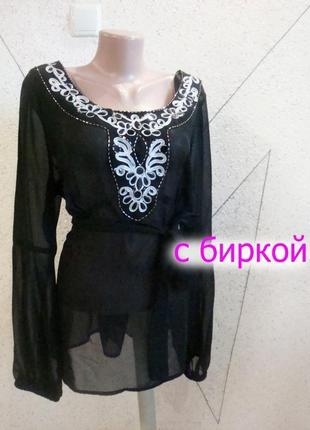 Блуза с вышивкой новая большой размер