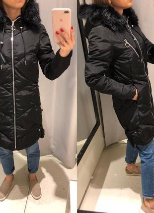 Чёрное пальто с мехом reserved длинная куртка на синтепоне еврозима xs-xl