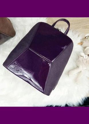 """Рюкзак """"черепашка"""" с лаковой вставкой david jones (5832-2 d. purple (т. фиолетовый))"""