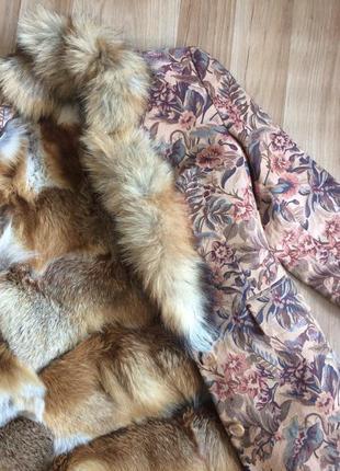 Шубка ручной работы с натуральным мехом лисы