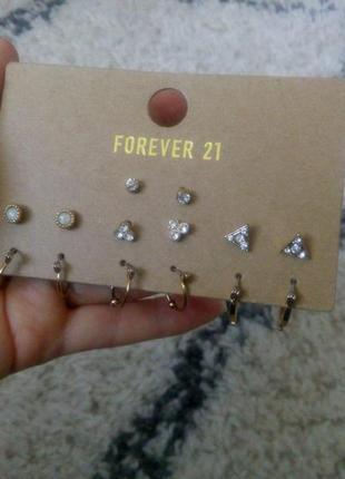 Серьги forever 21,  набор 7 пар, серьги на хрящ уха