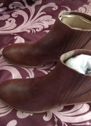 Коричневые ботинки, ботильоны ecco 40р. кожа