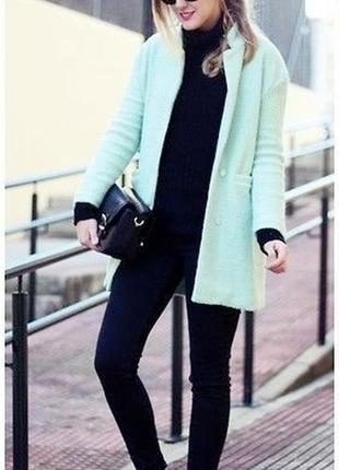 Ментоловое, мятное светло-зеленое пальто прямого кроя бойфренд, оверсайз george,m твидовое