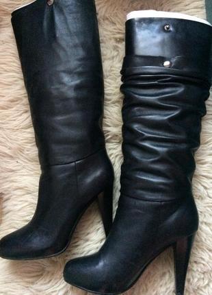 Высокие сапоги натуральная кожа на каблуке с эффектом 2 в1, braska