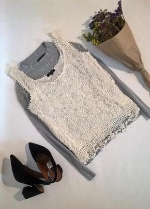 Белая кружевная блуза натуральная ткань