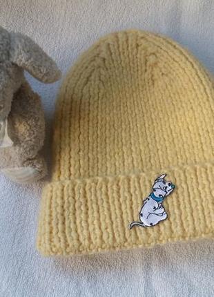 Вязаная зимняя шапочка шерсть тёплая плотная 2-3 года