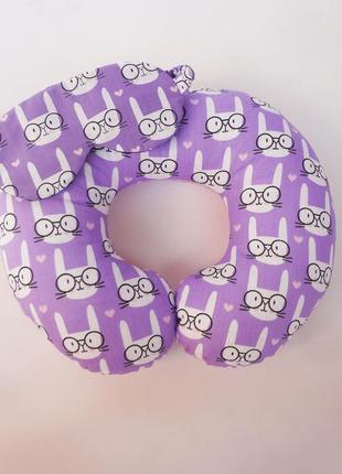 Дорожная подушка на шею - зайцы в очках