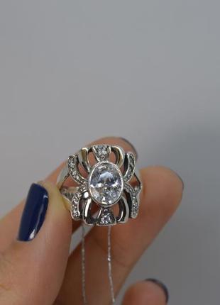 Серебряное #кольцо, #барокко, #овал, #камни 19р-р