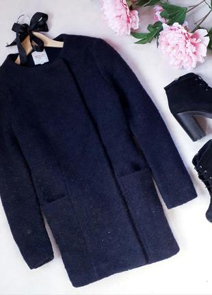 Теплое пальто бойфренд на кнопках, в составе шерсть