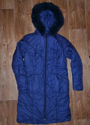 Оригинальная зимняя куртка с натуральным мехом размер l