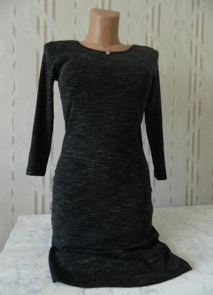 Трендовое платье миди h&m тёмно-серый меланж приталенное платье 3/4 рукав хлопок р.s