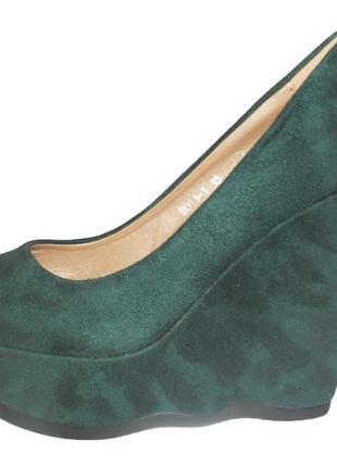Туфли зеленые на танкетке