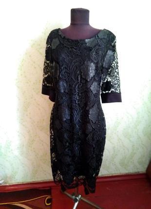 Черное платье, кожаные цветы турция