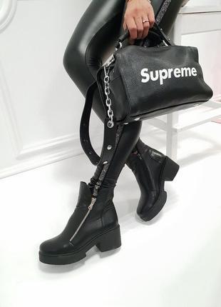 36-41 рр деми/зима ботинки, ботильоны черные, стальные натуральная кожа, замш