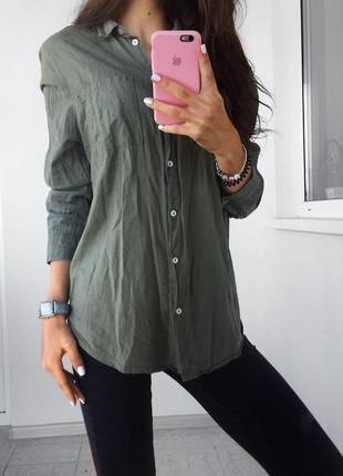 Бавовняна сорочка блузка хакі h&m