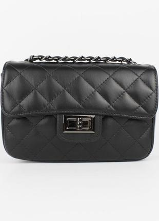 Кожаная сумочка borse in pelle 323907-1 черная, италия