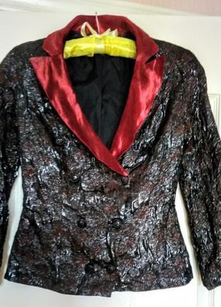 Шикарный, нарядный двубортный жакет шёлк с вышивкой\ для ярких и смелых леди\