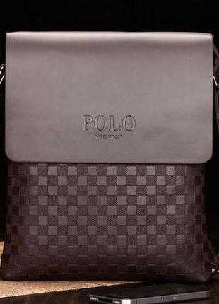 Мужская сумка через плечо поло polo коричневый
