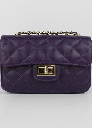 Кожаная сумочка borse in pelle 323907-3 фиолетовая, италия