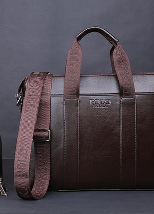 Стильный кожаный портфель коричневый поло polo + визитница в подарок