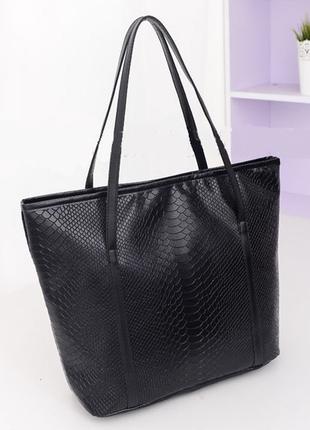 Женская черная сумка шоппер