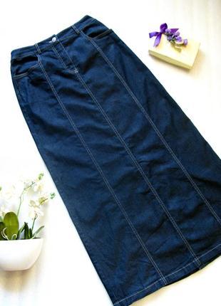 Длинная в пол приталенная джинсовая юбка  спідниця на демисезон/зиму от comma xs-s