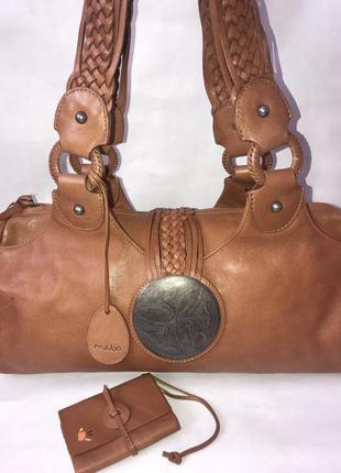 Кожаная сумка с кошельком на плечо mebo.(3 отделения)
