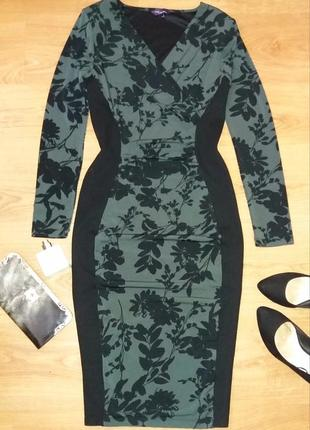Платье по фигуре в цветы twiggy by mark's and spencer размер 10