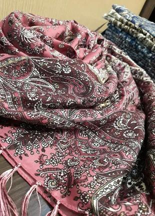 Роскошный шерстяной шарф шаль пыльная роза